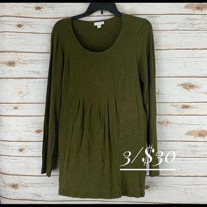 J jill tunic top small long sleeve green pleated